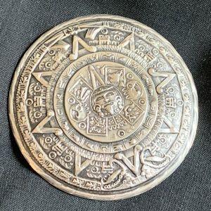 Vintage Large Sterling Aztec Calendar Brooch Pin